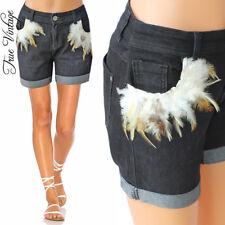 TRUE VINTAGE Hippie Stretch Jeans Hose Hot Pants Shorts Hüfthose Federn Gr .40 00bf0e7137