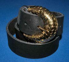 Noir Cuir Véritable Doux Buffalo Style Doré Boucle Ceinture 38 mm Hand Made UK XL C8
