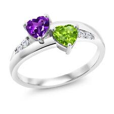 0.98 Ct Heart Shape Amethyst Peridot 925 Sterling Silver Lab Grown Diamond Ring