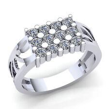 3ctw Round Brilliant Cut Diamond Men's 3Row Classic Ring Solid 14K Gold