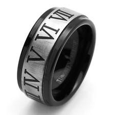 Men 9MM Comfort Fit Tungsten Carbide Wedding Band Roman Number Black Ring