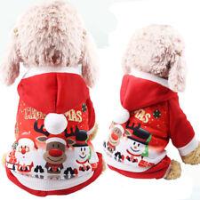Christmas Pet Dog Cat Santa Costume Outfit Jumpsuit Clothes Hoodie Jumpsuit