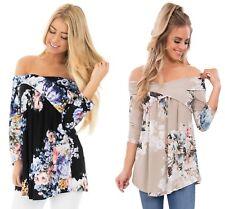 Ladies Black Blue Floral off shoulder criss cross summer top shirt 10 12 14 16 1