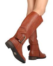 New Women DbDk Jojo-9 Leatherette Knee High Buckled Riding Boot