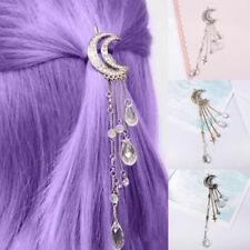 Expédié de Paris - Barrette Lune Strass Rétro Clip Femmes Perles Épingle Cheveux