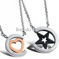 Pentacle Star Pentagram Heart Men Women Couples Pendant Necklace Christmas Gift