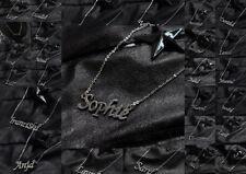 Frauen Kind Freunde Edelstahl Namenskette Halskette Name Kette Buchstaben Silber