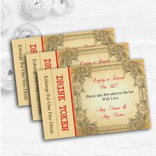 Typography Vintage Red Postcard Personalised Wedding Bar Free Drink Tokens