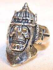1 DELUXE RELIGIOUS MID EVIL WARRIOR SKULL SILVER BIKER RING BR51 mens  jewelry
