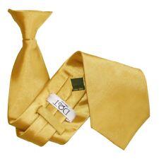 Premium Satin Plain Solid Mens Clip-On Classic Standard 9cm Tie Necktie - Gold