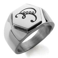 Mens Hexagon Crest Signet Ring Stainless Steel Reiki Iava Persistence
