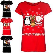 Womens Christmas Xmas Penguin Santa Reindeer Ladies Cap Sleeve T Shirt Tee Top