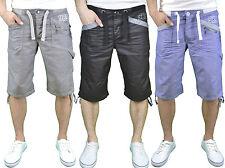 Enzo Mens Designer Branded Casual Cuffed Waist Denim Shorts, BNWT