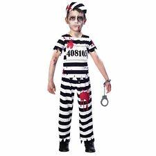 Niño Zombi Convicto Cárcel Prisionero Preso Rayas Uniforme Disfraz Halloween