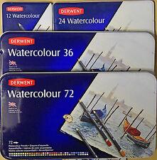 Derwent Watercolour Pencils tin case set NEW made in UK 12 24 36 72 piece
