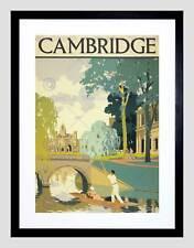 TRAVEL TOURISM CAMBRIDGE ENGLAND CAM PUNT BRIDGE FRAMED ART PRINT B12X11338
