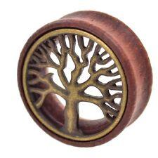PAIR - TREE OF LIFE DESIGN WOOD TUNNELS PLUGS ORGANIC EAR GAUGES (8mm-30mm)
