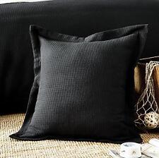 New 100% cotton Luxury Waffle European & Standard Pillowcase Cushion cover Black
