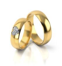 Ein Paar Trauringe Eheringe Gelbgold Herzform Verlobungsringe Etui Steine PL310