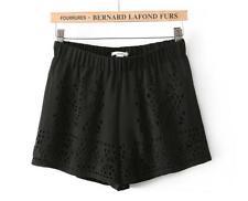 Women Chiffon Hollow Out Elastic Waist Casual Hot Pants Beach Shorts