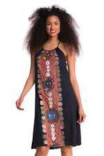 DESIGUAL FORMENTERA Vestido 36-44 8-16 RRP £ 74 Negro Brillante Panel Floaty Folk Boho