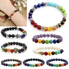7 Chakra Amethyst Gemstone Retro Spacer Healing Prayer Bead Elastic Bracelet Hot