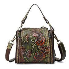 New Retro Women Genuine Cow Leather Shoulder Bag Embossed Handbag Purse XS Green