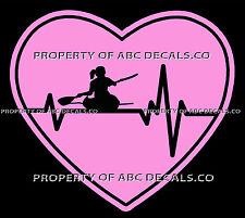 VRS Heartbeat Heart Kayak Kayaking Paddle Sea Ocean River Female CAR VINYL DECAL