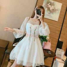 Mesh Girl Sweet Kawaii Lolita Fairy Princess Long Puff Sleeve Floral Cute Dress