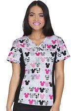 Mickey Mouse Cherokee Scrubs Disney Tooniform V Neck Knit Panel Top 6875C MKMK