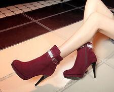 Botines botas zapatos botas militares mujer talón 9.5 como piel cómodo rojo 9118