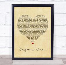 Dangerous Woman Vintage Heart Song Lyric Print