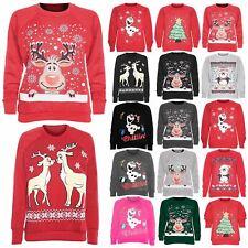 Womens Ladies Reindeer Knitted Christmas Xmas Novelty Sweater Jumper Sweatshirt