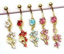 Gold Flower Floral Filigree Tassel Dangle Charm Gem Navel Belly Ring Bar Pretty