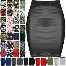 Womens Dogtooth Print Pvc Pu Mini Skirt Ladies Stretchy Bodycon Short Plus Size