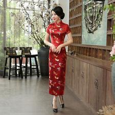 Chinese-style costume women's silk cheongsam long dress size:S to 3XL