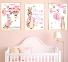 Pink Peter Rabbit Girls Nursery Prints Set Of 3, Kids Baby Room Wall Art Decor