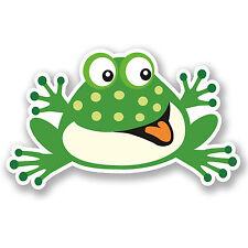 2 x Funny Frog adesivo vinile iPad Laptop AUTO BICI MOTO Happy Kids Fun # 5028