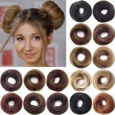 Girls Rubber Band Straight Scrunchie Brown Blonde Donut Chignon Wrap Hair Ring!!
