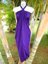 Hawaii Pareo Sarong Solid Purple Hawaiian Luau Cruise Beach Pool Wrap Dress