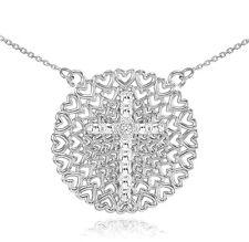White Gold Filigree Heart Cross Diamond Necklace