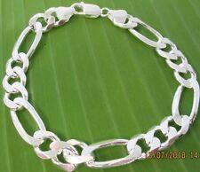 MADE IN ITALY - 925 sterling silver 9mm FIGARO link Unisex Bracelet  20cm -23cm