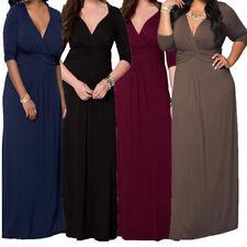 Big Womens Deep V-Neck 3/4 Sleeve Plus Size High Waist Evening Party Maxi Dress