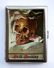 Smoking Skull Cigarette Case Wallet Business Card Holder punk Goth hipster odd