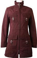 Womens Purple Real Nubuck Leather Jacket Coat 3 Quarter Length 'All Size' #8V