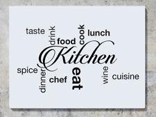 Cuisine mots goût boisson nourriture Cook diner Vin Mur Decal Autocollant Photo