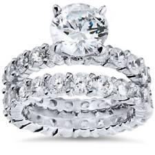 5 1/2ct Enhanced Diamond Eternity Engagement Wedding Ring Set 14K White Gold