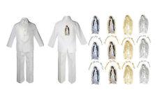 New Born Baby Boy Christening Baptism White Suit Maria Guadalupe On Back Sm-7