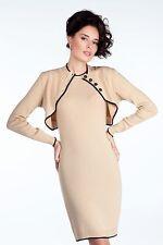 DRESS WEAR TO WORK DRESS SET MADE IN EUROPE WOOL JERSEY BOLERO JACKET S M L XL