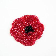 "1.75""x2"" Red Black Beaded Poppy Flower DIY Crafting Applique Patch Veteran's Day"